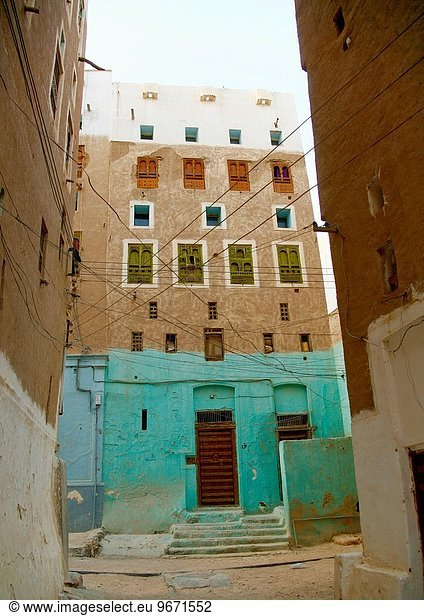 5, Gebäude, Stadt, frontal, türkis, 6, alt, Shibam, Jemen