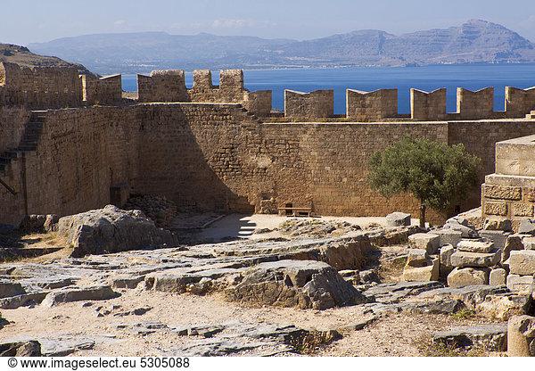 Akropolis von Lindos,  Rhodos,  Griechenland,  Europa