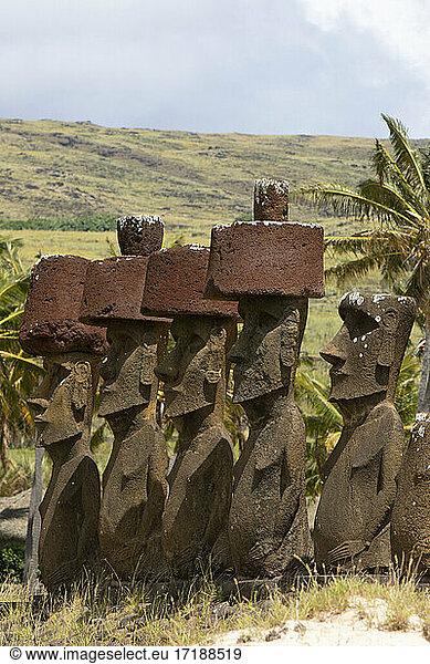 Anakena,  7 Moa? including 4 with headdress (Pukao),  Rapa Nui,  Easter Island,  Chile