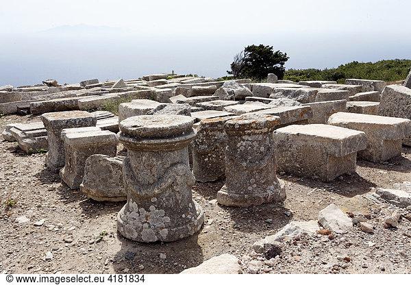 Antike Ruinenstadt Alt-Thira auf dem Berg Messavouno,  Santorin in der Ägäis,  Griechenland,  Europa