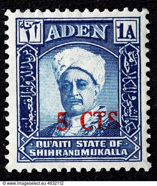 Awadh II bin Saleh Al Quaiti,  Sultan of Qu¥aiti State of Shihr and Mukalla Qu¥aiti State in Hadhramaut 1956-1966,  postage stamp,  Aden,  Yemen