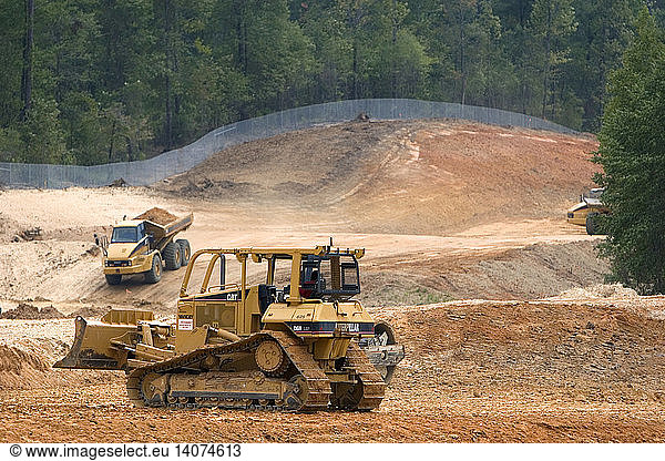 Bulldozer being used for road construction