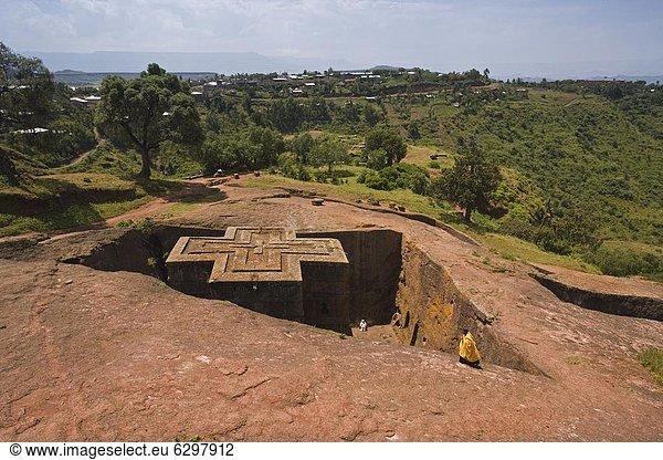 Felsbrocken , Kirche , wetten , sinken , Afrika , Äthiopien