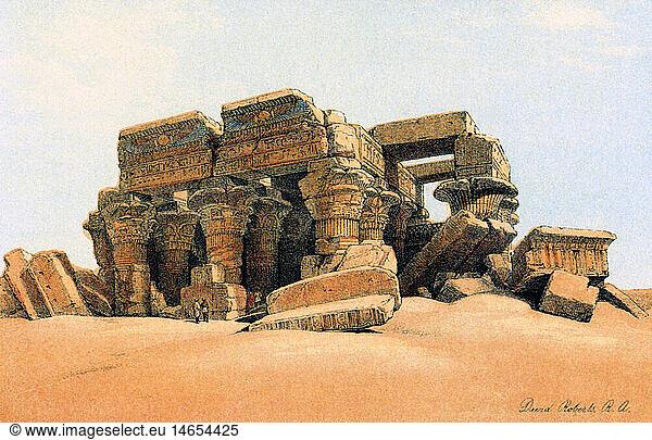 Geo hist.,  Ägypten,  Kom Ombo,  Ruine des Tempel vom Sand verschüttet,  nach Lithographie von David Roberts,  1856