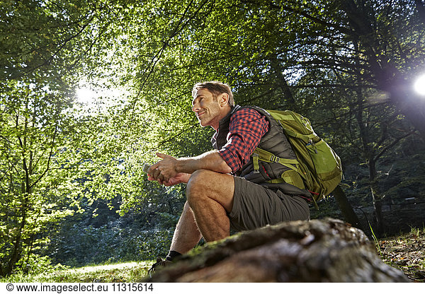Hiker in forest sitting on tree trunk,  holding smart phone