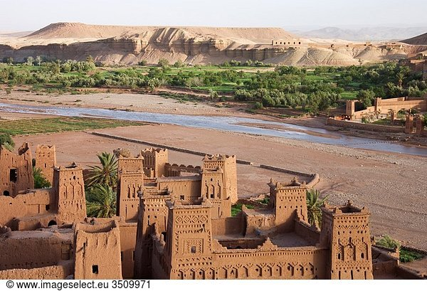 Morocco - The world-famous kasbahs = fortress at Aït Benhaddou just south of the High Atlas mountains and near the town of Ouarzazate are under the auspices of the UNESCO Southern Morocco
