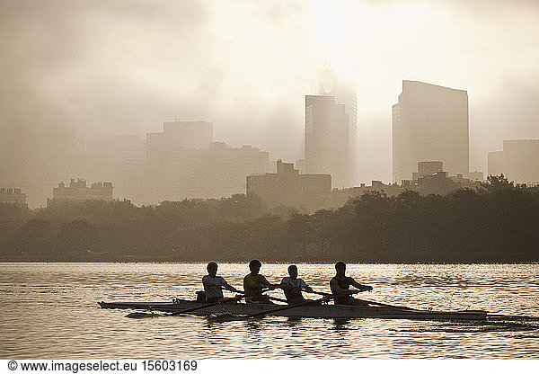 People rowing a boat in a river with city in the background,  Charles River,  Back Bay,  Boston,  Massachusetts,  USA