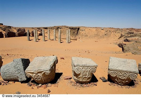 Remains of Church of the Granite Columns,  Old Dongola,  Nubia,  Sudan