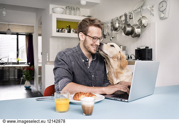 Smiling man with dog using laptop in kitchen at home