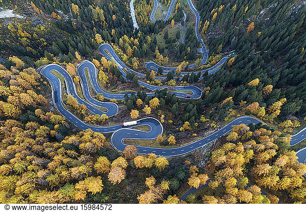 Switzerland,  Canton of Grisons,  Saint Moritz,  Drone view of Maloja Pass in autumn