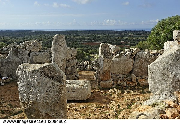 Torre d'en Galmes a Talayotic site on the island of Menorca,  Balearic Islands,  Spain,  Europe.