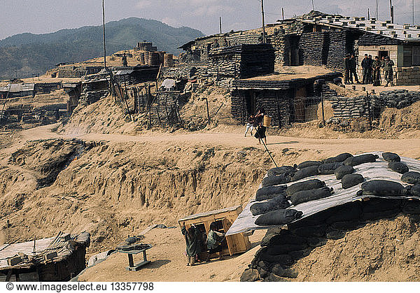 VIETNAM Central Highlands Dak Pek Vietnam War. Dak Pek United States and Montagnard Special Forces defensive outpost behind Viet Cong lines and Ho Chi Minh trail in the Central Highlands of South Vietnam