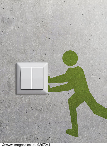 Light switch and pictogram on concrete wall,  3D Rendering