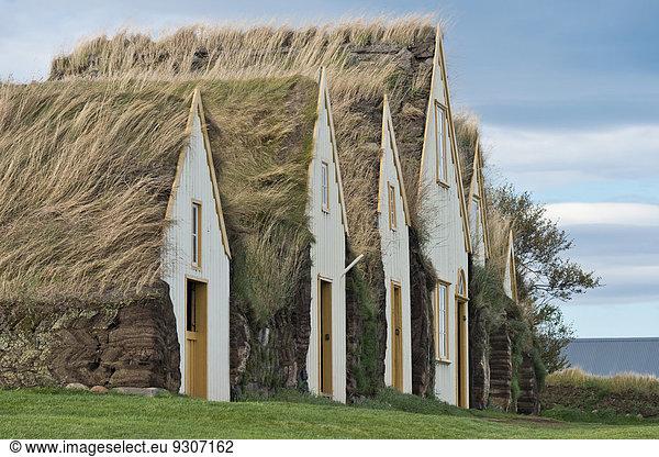 Sod houses,  turf buildings,  Glaumbaer or Glaumbær Museum,  Northwestern Region,  Iceland