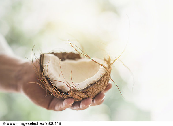 Close up of man's hand holding part of coconut