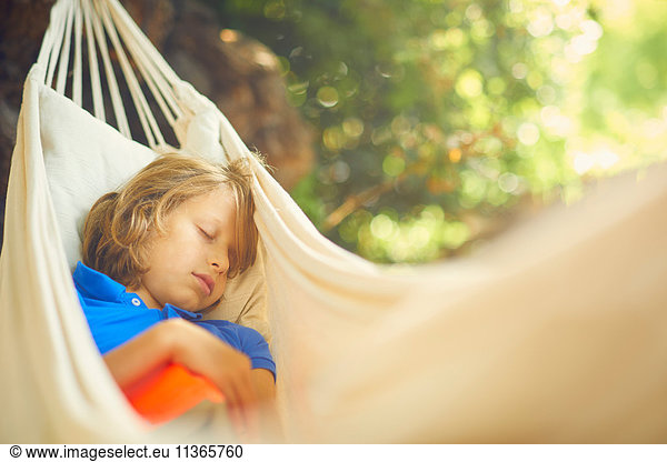 Cute boy reclining in garden hammock asleep
