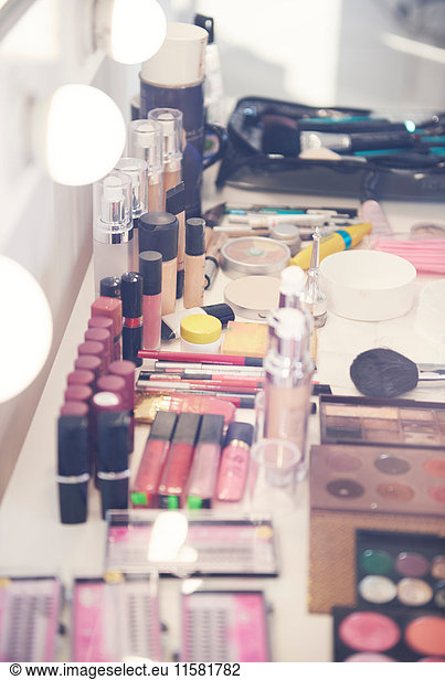 Variety of make up in dressing room