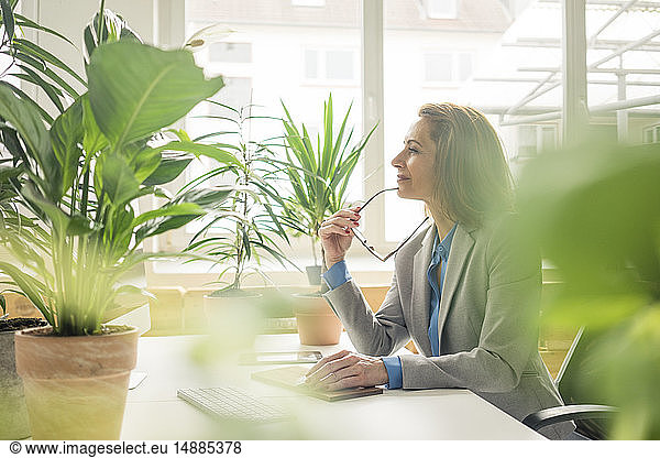 Mature businesswoman working in sustainable office,  with plants on her desk