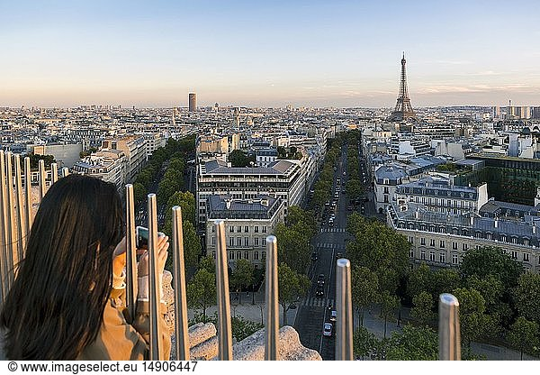 France,  Paris,  general view from the terrace of the Arc de Triomphe to the Eiffel Tower