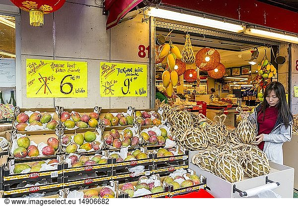 France,  Paris,  Chinatown of the XIIIth district,  Asian grocers,  durians and mangoes
