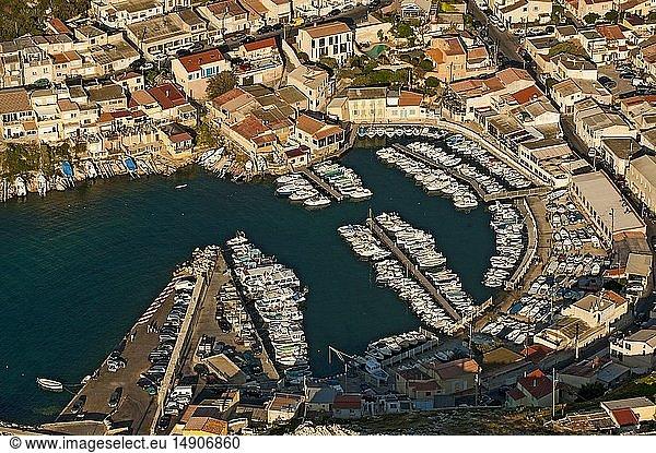 France,  Bouches du Rhone,  Calanques National Park,  Marseille,  8th district,  Les Goudes area (aerial view)